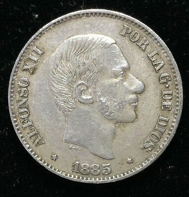 1885 Alfonso 50 centavos Spain-Philippines Silver Coin - lot 7