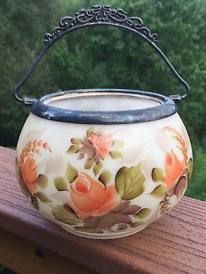 Hand Painted Glass Biscuit Barrel or Cracker Jar Silverplate Rim & Handle Signed