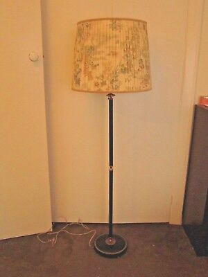 Stunning Vintage Black Faux Leather Standard Floor Lamp With Print Shade