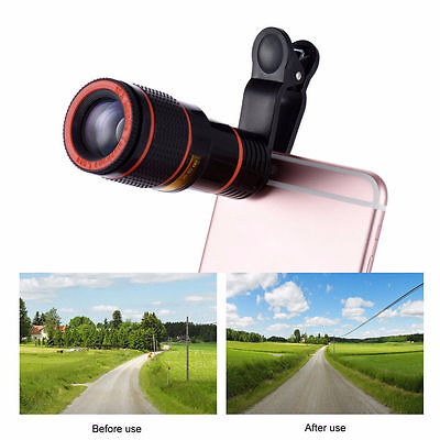Universal Mobile Phone Clip-on 12x Optical Zoom HD Telescope Camera Lens
