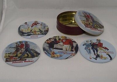 Johnnie Walker Scotch Whisky Promotional Set of 4 Coasters in Tin Case 1980s