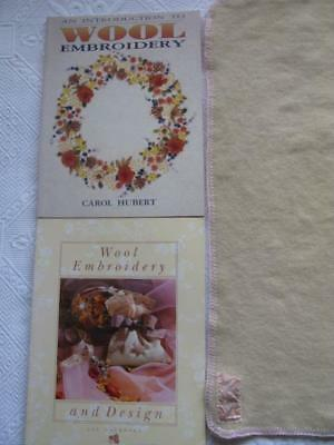 Wool Embroidery 2 books + VTGE 1950's wool Cot Blanket