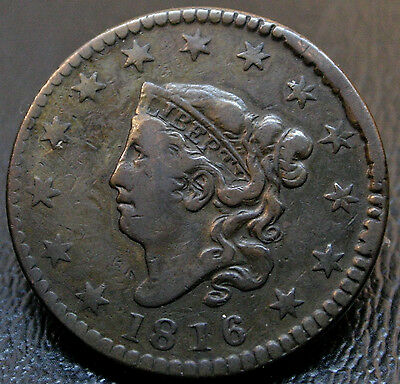 1816 N-2 Coronet Head Or Matron Head Large Cent Rotated Reverse 1C Coin