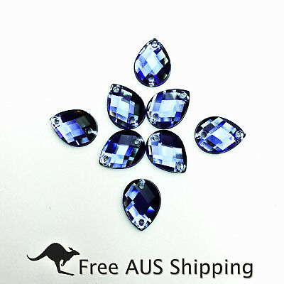 Blue Denim Teardrop Acrylic Crystal Flatback Rhinestones 11x8mm - 50pcs Sew On