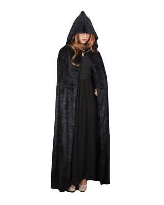 Cloak Halloween Costume Full Length Crushed Velvet Hooded Cape Outfit New