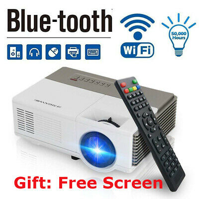 Smart HD Android Projector Wifi Bluetooth Video Home Cinema HDMI Kodi Airplay AV