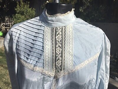 VINTAGE 70s BABY BLUE VICTORIAN BLOUSE PLEATED LACE S/M CALIFORNIA TRENDS