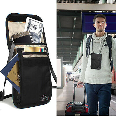 Passport Holder Travel Neck Wallet ID Documents Pouch RFID Blocking Money Belt