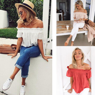 76a991c7ac918 Womens Sexy Off Shoulder Short Sleeve Tops Summer Casual Loose Blouse T- shirt