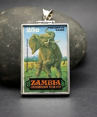 1972 ZAMBIA CONSERVATION STAMP PENDANT set in .925 STERLING SILVER FREE SHIPPING