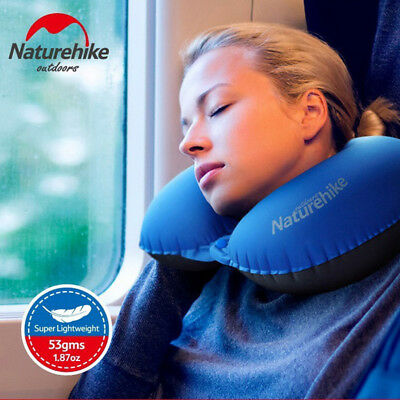 Naturehike Inflatable Pillow U Shape Camping Travel Soft Neck Pillow with Button