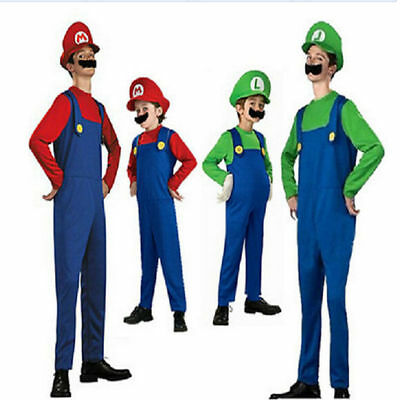 Super Mario Luigi Brothers Famaily Costumes Kids Adults Halloween Fancy Dress#