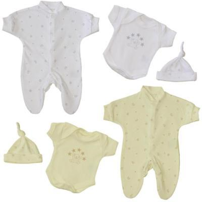 BabyPrem Preemie White Cream Tiny Baby Clothes Sleepsuit Vest Hat Outfit Set
