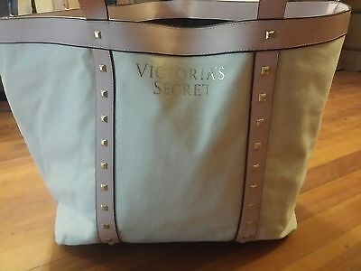 victoria's secret VS large pink and white tote beach bag