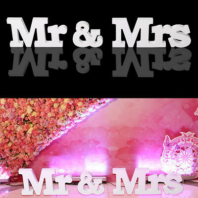 Mr & Mrs Wedding Gift White Plastic Letter Letters And Sign Decoration Table Top