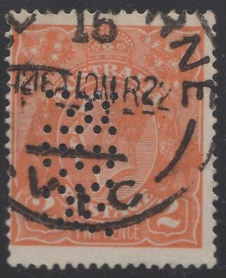 "Private perfin ""MBW"" on 2d orange KGV SW, used"