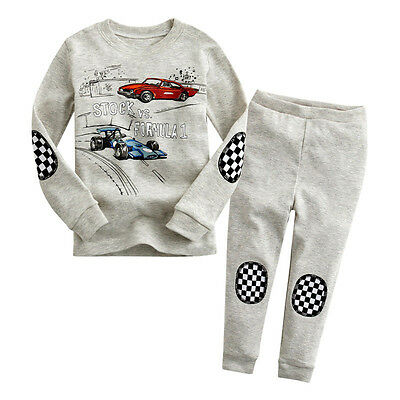 Cartoon Casual Children Kids Boy Girl Cars Sleepwear Nightwear Pyjamas Outfits