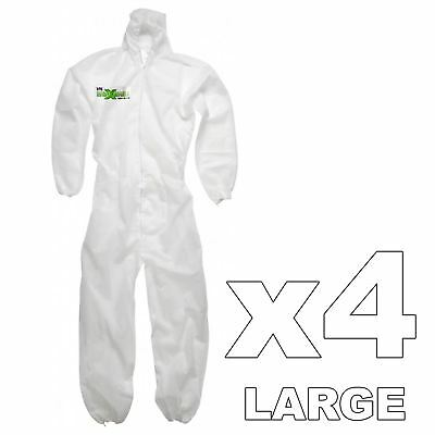 4 x Maximum Professional Hooded Painters Large Overalls Anti-Static Protection