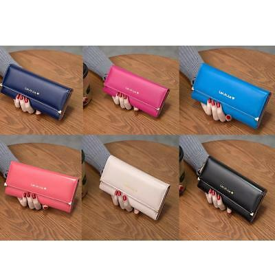 Fashion Women Bifold Wallet PU Leather Clutch Card Holder Purse Long Handbag