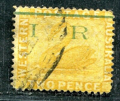 Western Australia 2 Pence Yellow Ovpt I R 1 Thick Bar Used