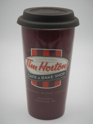 Rare TIM HORTONS Roasted in Rochester,NY 2011 Tall Ceramic Coffee Travel Cup Mug
