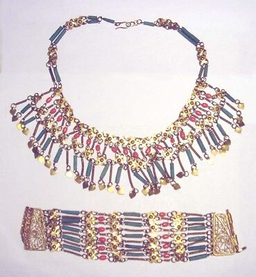Vintage EGYPTIAN REVIVAL Coral/Faience BEAD Cleopatra BRACELET & NECKLACE SET