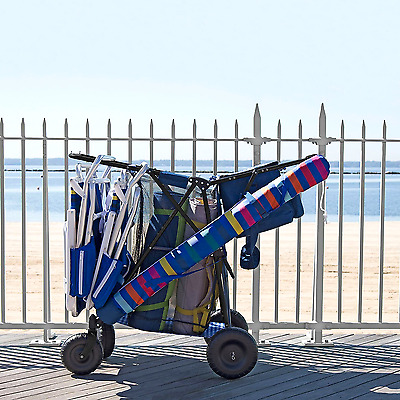 Multi-Purpose Blue Utility Cart with Cooler for Beach Sports Shopping Camping
