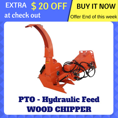 Wood Chipper Hydraulic Feed Tree Mulcher 3 Point Link PTO Driven 150mm Cut NEW