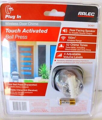 Arlec DC692 Touch Activated Wireless Door Chime Bell Press White