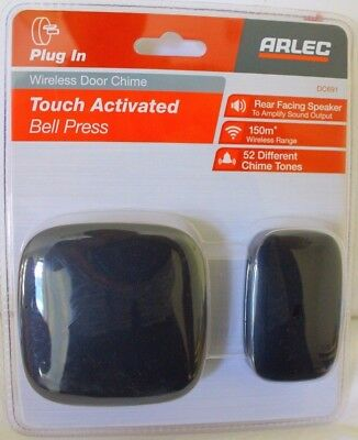 Arlec DC691 Touch Activated Wireless Door Chime Bell Press Black