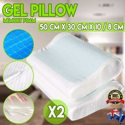 Set of 2 Cool Gel Infused Top Memory Foam Sleeping Bed Pillow