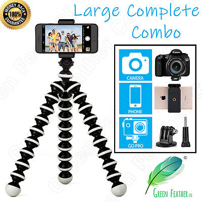 LARGE Flexible Octopus Tripod | 4x Extra Support for your Camera, GoPro or Phone