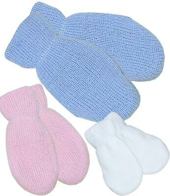 BabyPrem Baby Winter Clothes One Pair Boys Girls Mittens Gloves Pink Blue White