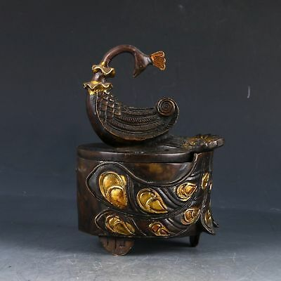 Chinese Copper Gilt Hand Carved Peacock Incense Burner W Qianlong Mark PJ250