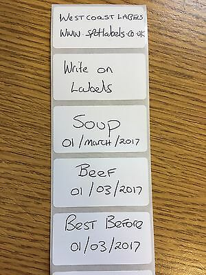 FREEZER LABELS WHITE  POLY, STRONG  ADHESIVE, WRITE ON FOOD  DATE  25mm x 50mm
