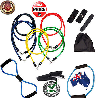13PCS Heavy Resistance Strength Training Bands Tension Rope Fitness Gym Elastic