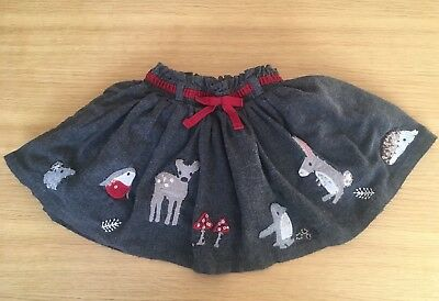 Next Baby Girl Grey Woodland Animal Skirt 12-18 Months 1-1.5 Years Christmas