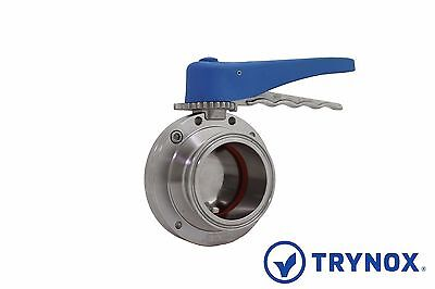 2.5'' Sanitary Butterfly Valve Clamp Ends EPDM Seal 304 Stainless Steel Trynox