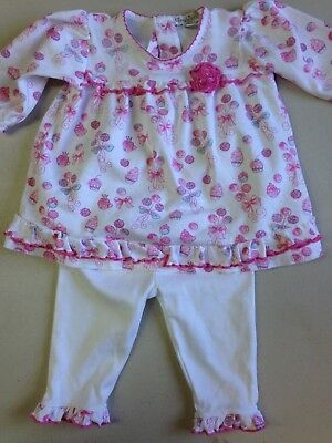 Kissy Kissy Classic Little Baby Infant Girl Pant Set Pink Cupcakes 3-6 Months