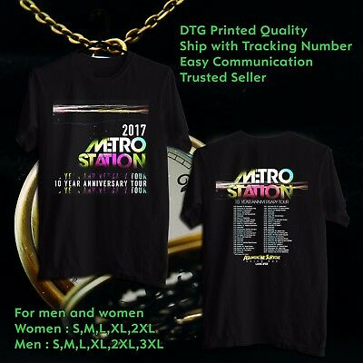 Metro Station 10 Years Anniversary Tour 2017 Black Tee S-3Xl Ppst