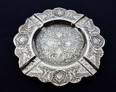 Fine Antique Persian Islamic Solid Silver Hand Chased Hallmarked Ashtray 85.8g