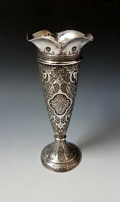 Very Fine Antique Persian Islamic Solid Silver Hand Chased Vase by Rabei 176.1g
