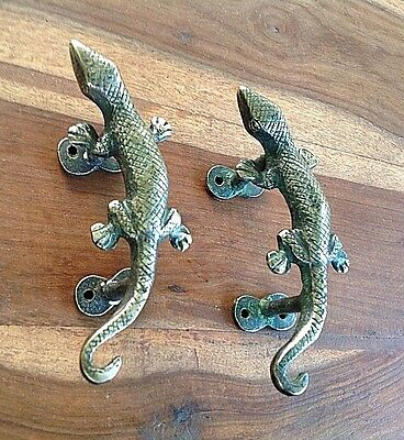 Vintage Antique Style Lizard Solid Brass Pair Of Door Handles Pulls
