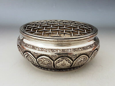 Lovely Fine Antique Persian Islamic Solid Silver Hallmarked Potpourri Bowl 232g