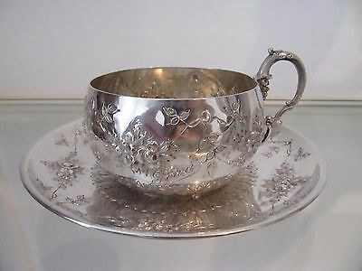 1900 french sterling silver tea cup garland of roses Boulenger 201g 7,1oz Jean