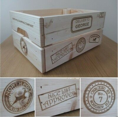 Personalised Engraved Solid Wooden Christmas Eve Xmas Box Crate