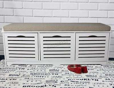 FoxHunter Shoe Storage Bench 3 Drawers Padded Seat Stool Cabinet MDF SB07 White