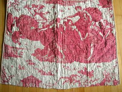 """ANTIQUE FRENCH MADDER RED TOILE DE JOUY """"CHARIOT OF DAWN"""" ca. 1795"""