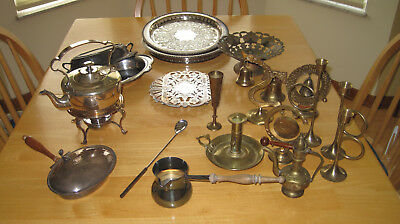 Vintage Silverplate and Brass Items Lot