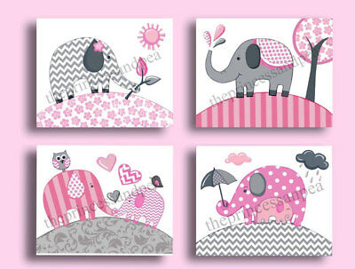 Elephant nursery wall art print elephant chevron bedding decor picture pink gray